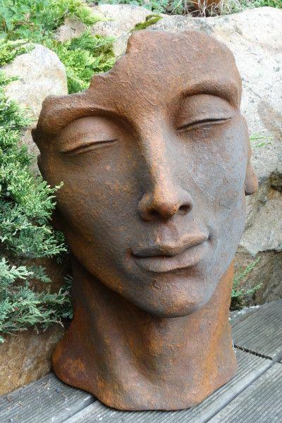 """Gartenfigur Gesicht """"MANN"""", Steinguss, Edition Oxid, klein"""