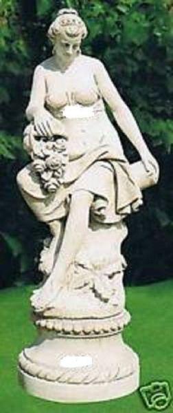 Gartenfigur Sitzende Frau mit Korb (ohne Sockel)
