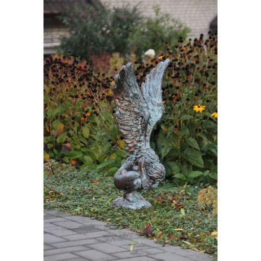 """Gartenfigur Engelfrau """"RACHEL""""+Sockel im Set mit Bronzeeffekt"""