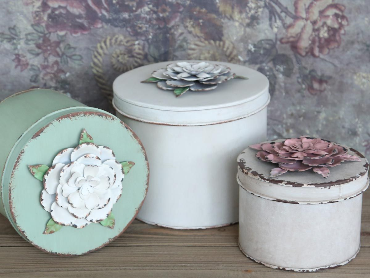 Box mit Rosen 3er Set von Chic Antique
