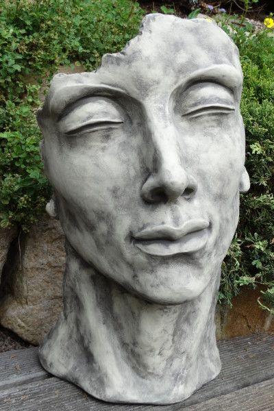 """Gartenfigur Gesicht """"MANN"""", Steinguss, klein"""