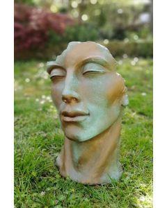 """Gartenfigur Gesicht """"MANN"""", Steinguss, Kupfereffekt, klein"""