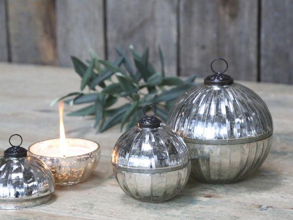 Glas Kugel m. Kerze und Rillenschliff von Chic Antique