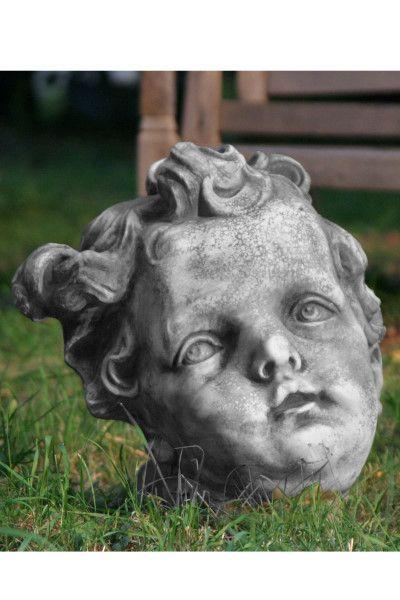 Gartenfigur Engelkopf aus Steinguss, groß