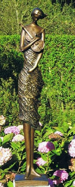 Bronzefigur Violinistin