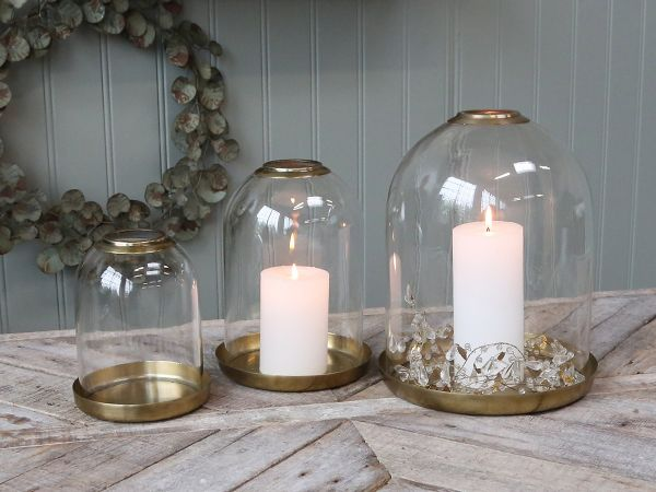Glas Glocke mit messingtablett von Chic Antique