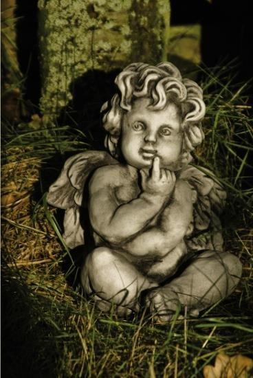"""Gartenfigur Engel sitzend, """"IONEL"""", Steinguss"""